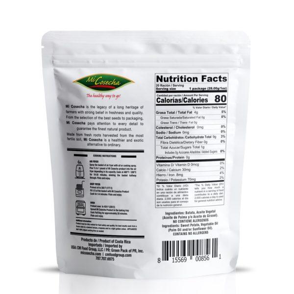 Mi Cosecha Palitos de Batata  - Valor Nutricional