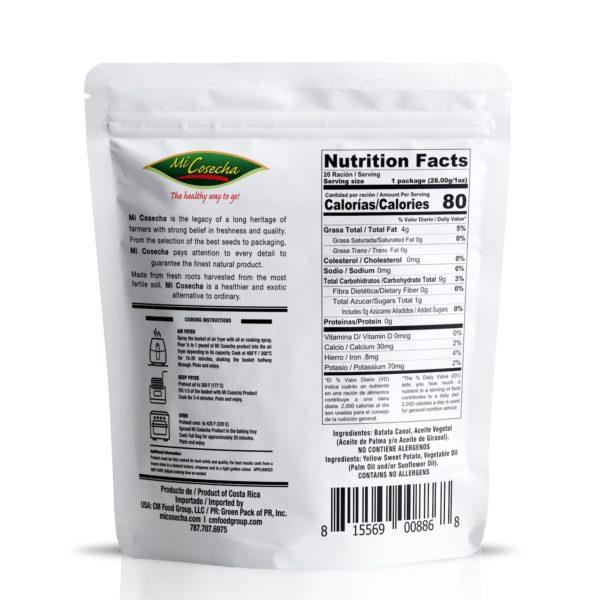 Mi Cosecha Palitos de Batata Canol - Valor Nutricional