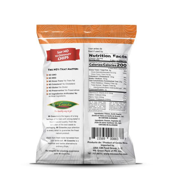 Mi Cosecha Chips de Tostones - Valor Nutricional