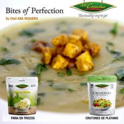 Bites of Perfection – Crema de Pana y Ajo Puerro con Crutones de Plátano