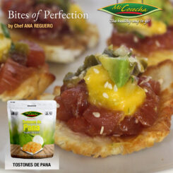 Bites of Perfection –  Tostones de Pana Mi Cosecha con Tuna Tartar y Salsa Jalapeño-Mangó