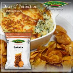 """Dip de Espinacas y Alcachofas con Chips de Batata """"Mi Cosecha"""""""