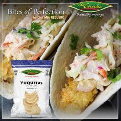 Tacos de pescado empanados en Yuquita Chips Mi Cosecha